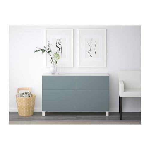 BESTÅ Storage combination w doors/drawers, white, Valviken gray-turquoise white/Valviken gray-turquoise drawer runner, soft-closing 47 1/4x15 3/4x29 1/8 $175