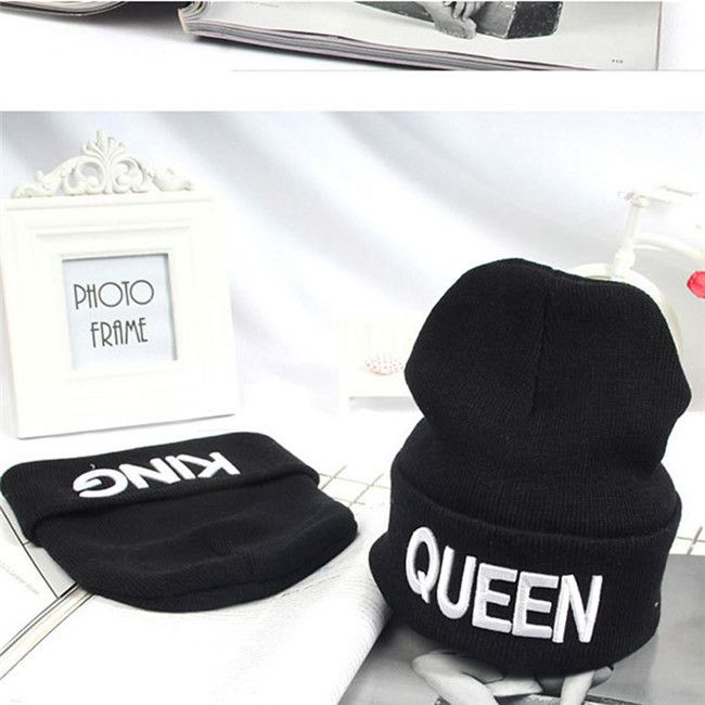 King Queen Beanie Winter Hats Cap Men Women Knitting Beanies Skullies Knitted Hiphop Hat Couples Lovers Winter Caps KH981612