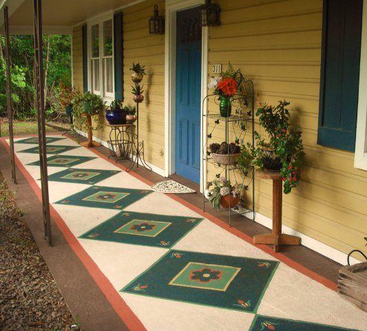 17 best images about painted floors on pinterest for Concrete front porch paint ideas