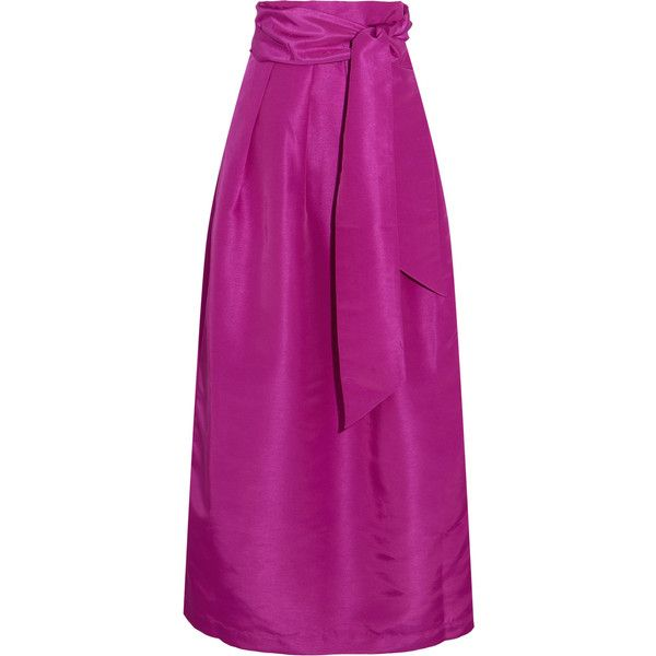 Paper London Miller pleated faille maxi skirt (€320) ❤ liked on Polyvore featuring skirts, purple a line skirt, structured skirt, purple maxi skirt, tie waist maxi skirt and ankle length skirts