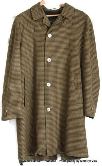 Mens Raincoat Rainfair 1960s Mad Men Overcoat Vintage Brown green gold Plaid Top Coat~I used to love shopping thrift stores for these!