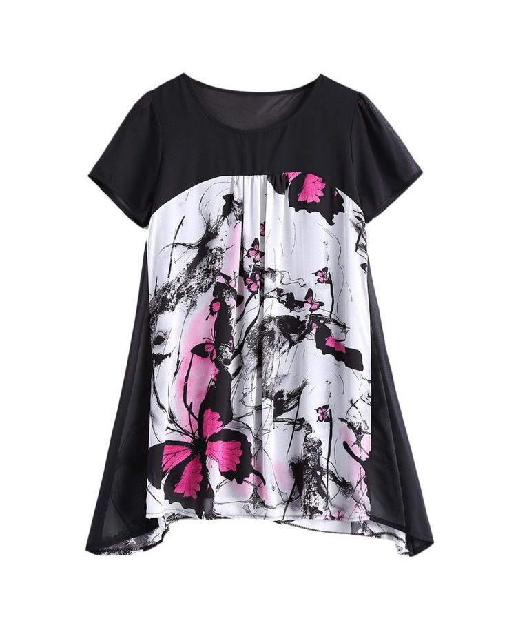 Plus Size Sweet Butterfly Print Asymmetrical Blouse – Rose Red – 2R90922419