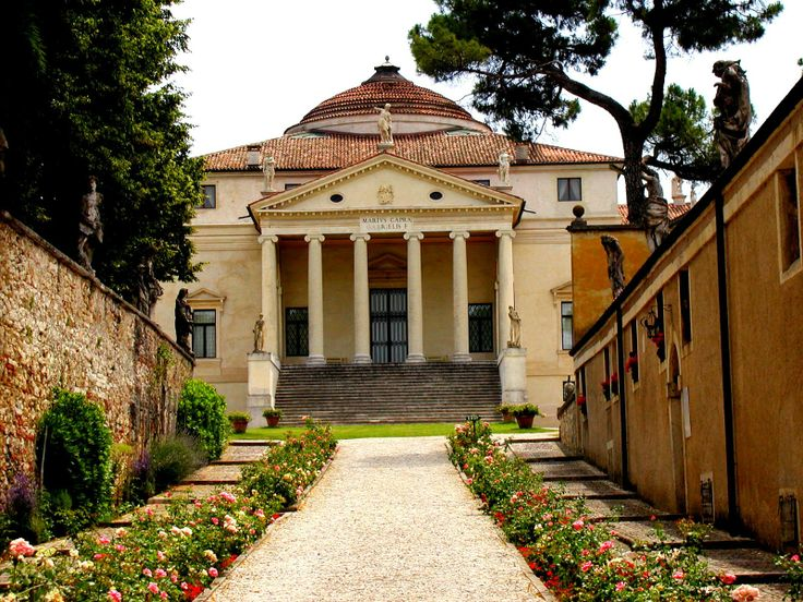 """Architect Andrea Palladio Villa la Rotonda,the German poet and philosopher Johann Wolfgang von Goethe wrote in his notebook, when he came to La Rotonda in 1786 on a personal pilgrimage. Goethe evidently managed to get inside, since he described the domed central hall as """"of the most beautiful proportions""""."""