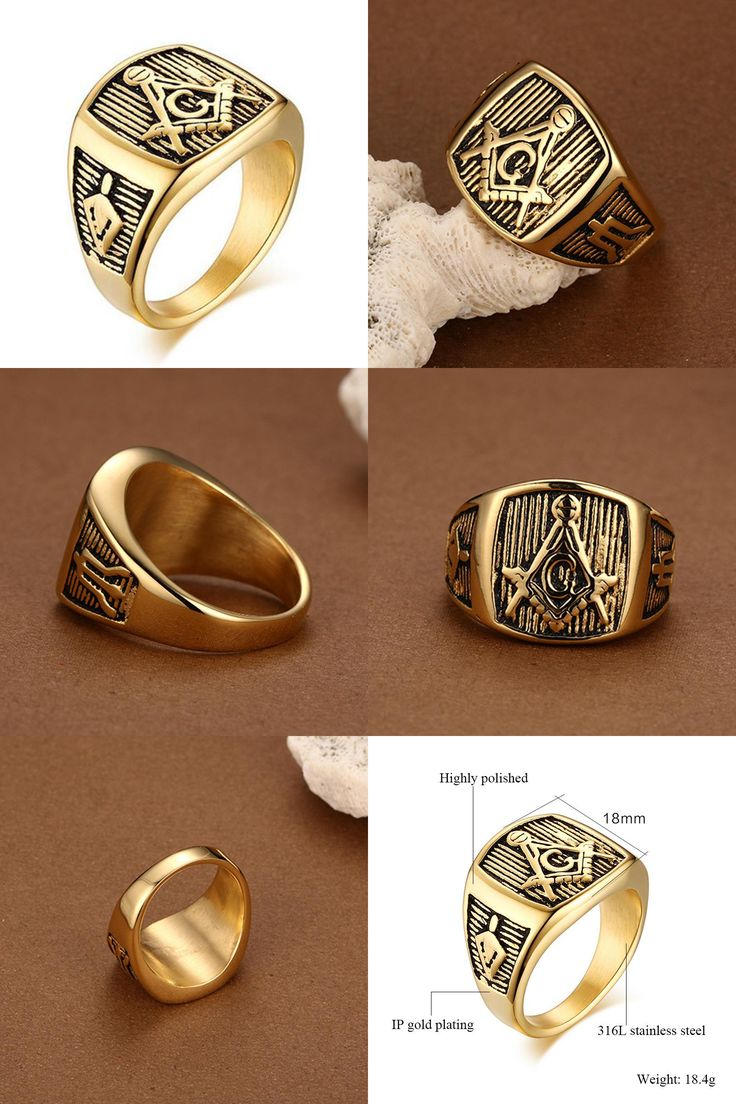 [visit To Buy] Male Masonic Rings Quality Titanium Ring For Men Fashion  Gold