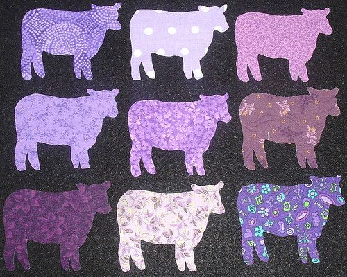 9 Easy to Use Purple Cow Fabric Appliques  by MarsyesQuiltShop, $10.95 ... I will ship appliques worldwide!
