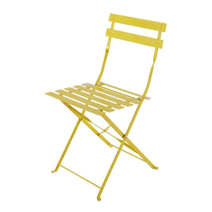 2 chaises pliantes de jardin en métal jaune Confetti