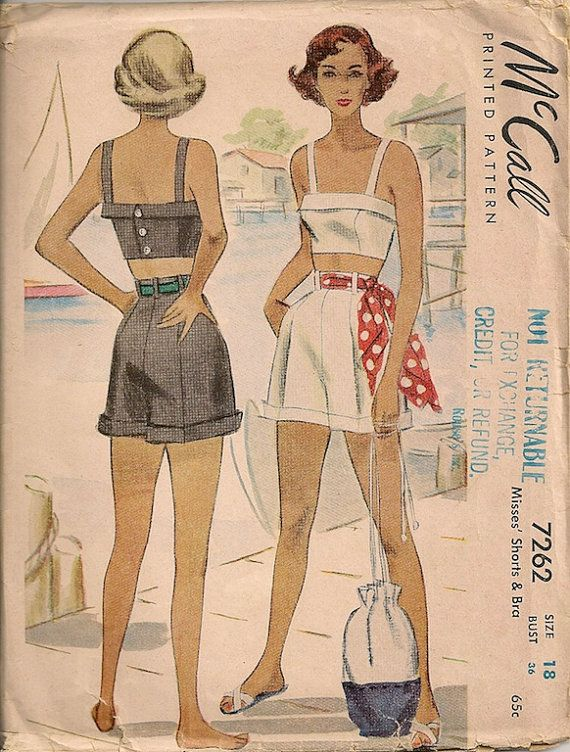 Vintage 1940s Shorts and Bra Pattern McCall 7262 by SewPatterns, $33.00