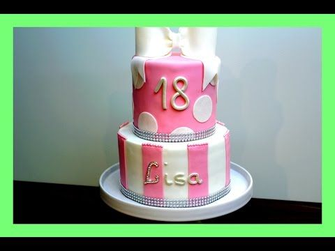 geburtstags fondanttorte in rosa weiss 2 etagen torte 18 geburtstag s z ni an k na. Black Bedroom Furniture Sets. Home Design Ideas