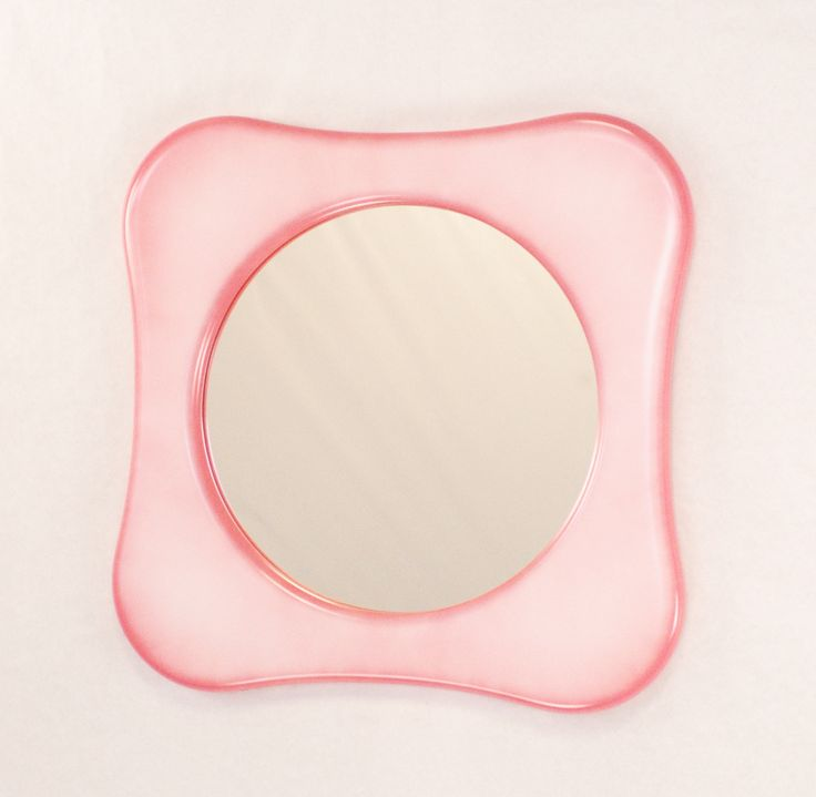 Lush, pink and white vapour effects in a modern bathroom mirror, designed and handmade by MarvellousMirrors.com Originals to last...