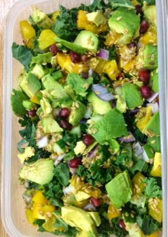 Avocado, pomegranate, kale and pepper lunchbox salad- very low carb/ paleo and vegan-The Vegetarian Atkins diary