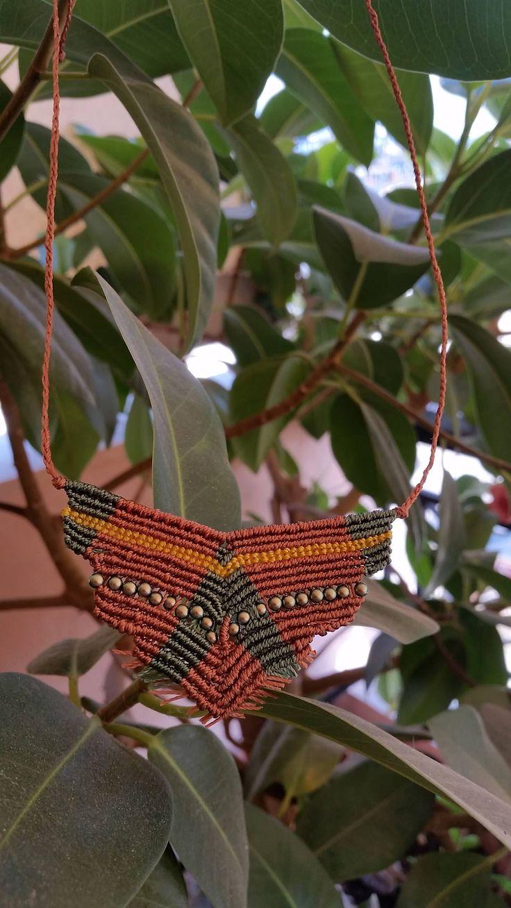 Micro macrame autumn necklace