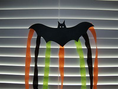 Paper Bat - Just draw a bat on black paper & let child cut it out, then attach streamers... October craft