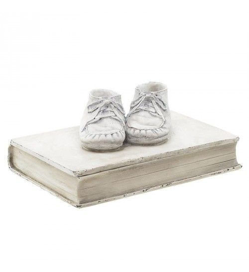 POLYRESIN BOOK_BOX 'BABY SHOES' IN ANTIQUE CREME 26X18_5X10