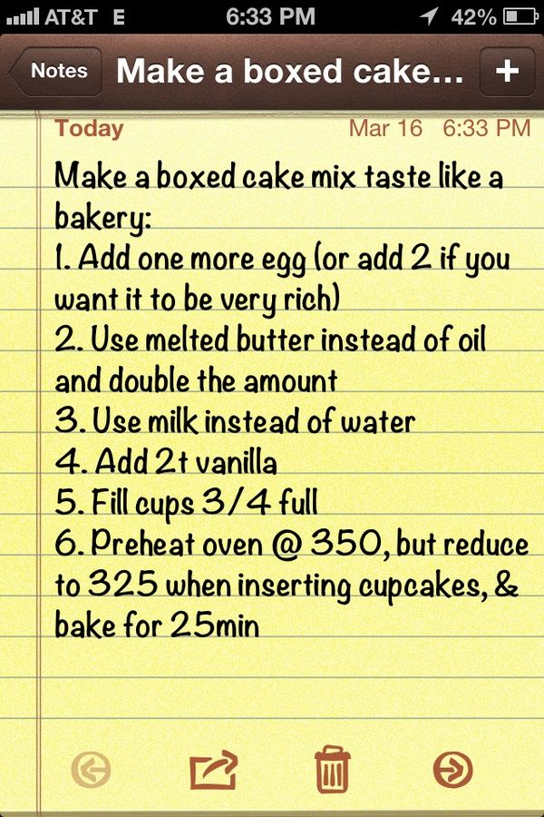 Make a boxed cake mix taste like a bakery cake. I have not personally tried this but I sure will experiment in the future!