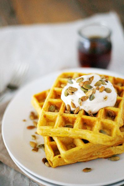 Pumpkin Spice Waffles with Maple Cream and Pepitas