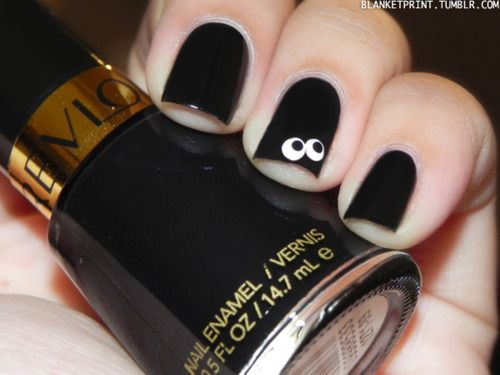 "Boo 13 Manicures of Halloween - Day 12  Color: Black Lingerie (Revlon)Retail Price: $4.99 (USD)  This shade is a creme black. Use dotting tools or the back end of a make-up brush and a toothpick to create eyes peering out from the ""dark"".Nails Art, Nails Design, Nailart, Cute Halloween, Googly Eye, Nails Ideas, Black Lingerie, Colors Black, Halloween Nails"