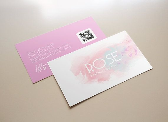 SALE Rose watercolor double sided business card от deideigraphic