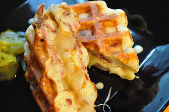 bacon waffle grilled cheese sandwich. what.