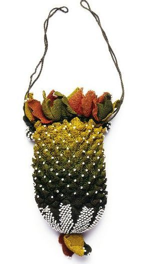 Early 19th century English Knitted Silk Pouch purse w/ Steel Beads