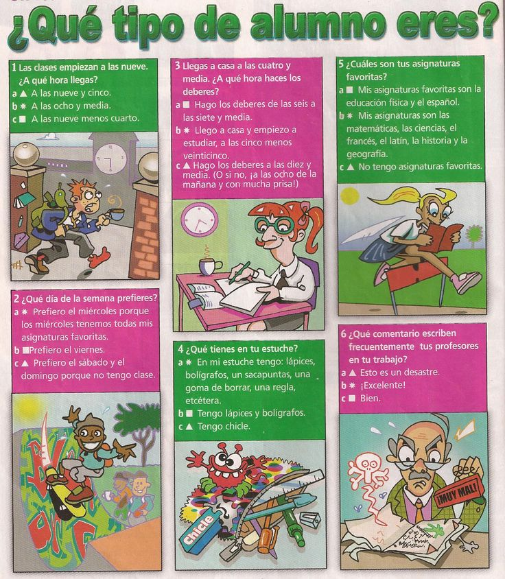 Great short reading about a students school day, including time ¿Qué tipo de alumno eres? 1/2
