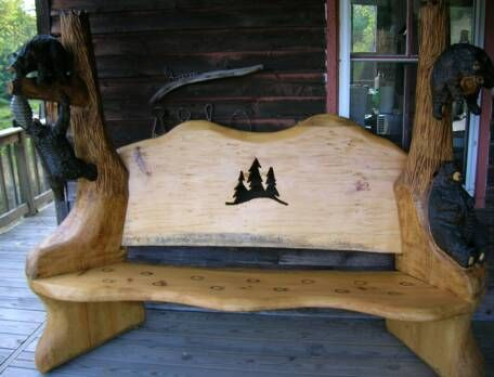 Chainsaw Carved Benches Carved Bear Bench 2 Tree