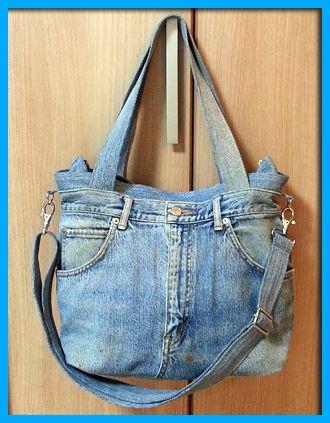 ジーンズそのまま2wayバッグの作り方【ジーンズリメイク】【Gパンバッグの作り方】 | Gパンをバッグにリメイク【7つのコツ】で上手に出来る♪デニム・ジーンズバッグの作り方