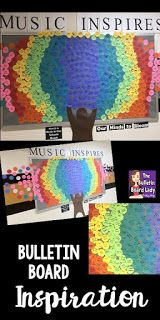 Music Inspires Bulletin Board. This music advocacy bulletin board is a great way to included EVERYONE in your building! Read about how to put this display together and inspire your school from the Bulletin Board Lady.  Great for Music in Our Schools Month or any time of year.