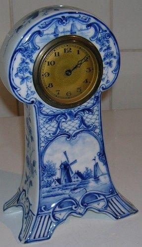 Antique Art Nouveau Delft pottery Mantel clock, circa 1910
