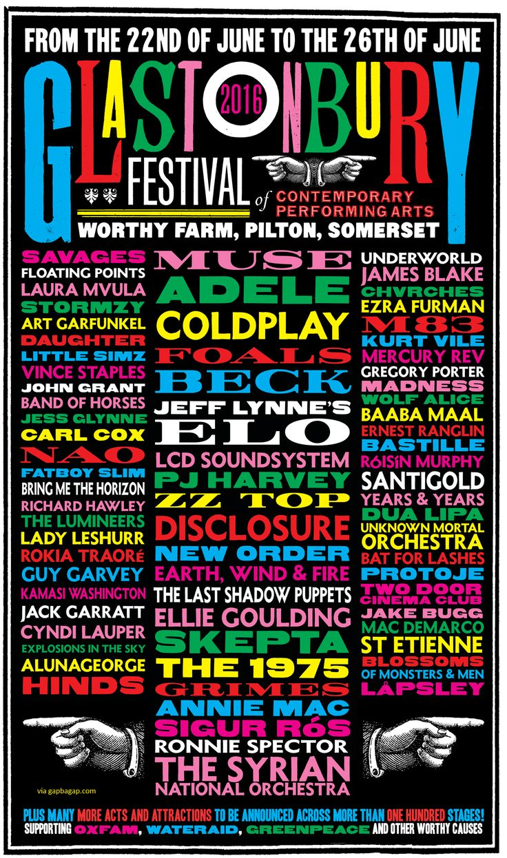 Annual Music Festival Glastonbury Festival Announces Full Lineup for 2016                                                                                                                                                                                 More