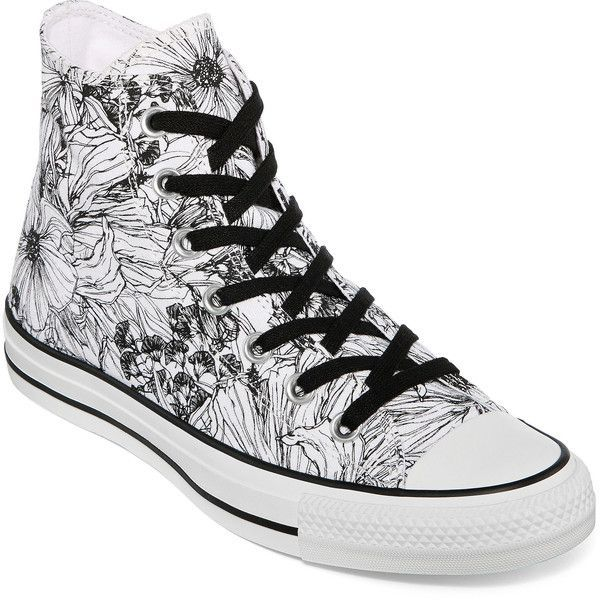 Converse Chuck Taylor Womens Outline Floral High-Top Sneakers ($40) ❤ liked on Polyvore featuring shoes, sneakers, converse trainers, converse sneakers, rubber sole shoes, lace up sneakers and floral print sneakers