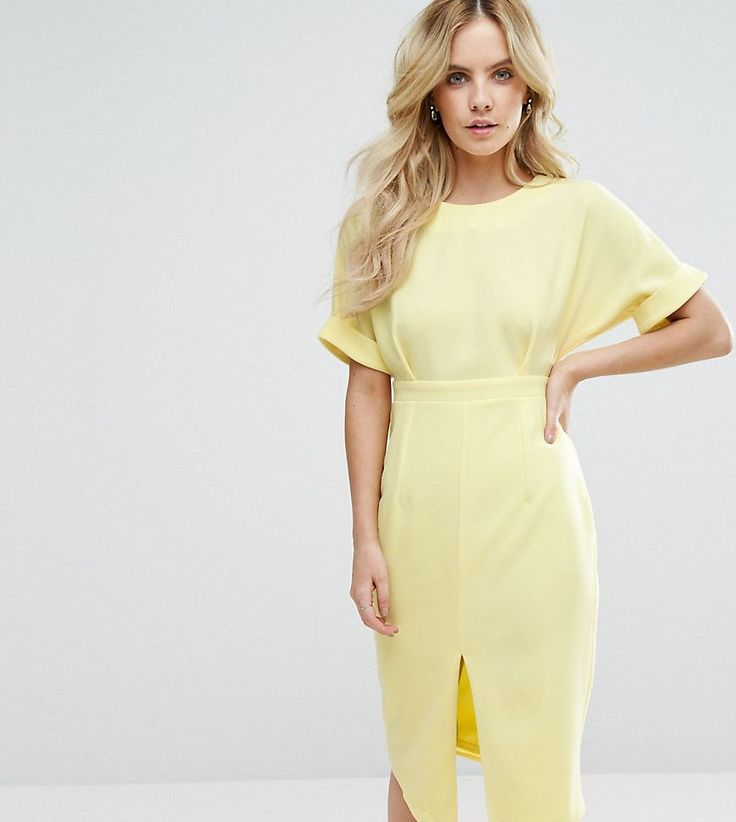 ASOS PETITE Smart Woven Dress with V Back and Split Front - Yellow