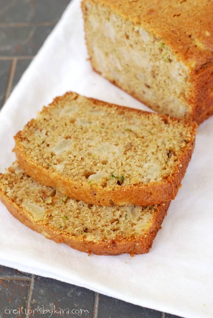Recipe for zucchini bread with chunks of ripe pear