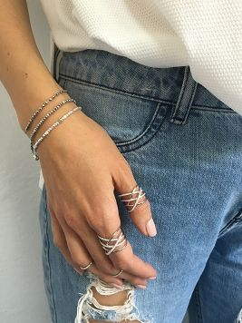Pierścionek / tangled / cyrkonie / srebro