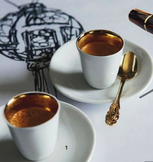 Stefano Canturi's gilded espresso cups, bought in Paris at the Centre Georges Pompidou. The inlay warms beautifully because gold is very heat-conductive, and it really keeps the warmth in the cup. Vogue Living magazine, April 2013