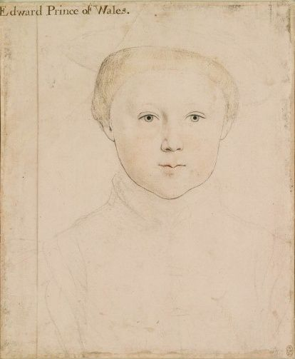EDWARD, PRINCE OF WALES  (1537-1553)  THE SON OF HENRY VIII AND HIS QUEEN, JANE.  PAINTED BY HANS HOLBEIN, THE YOUNGER  c. 1541