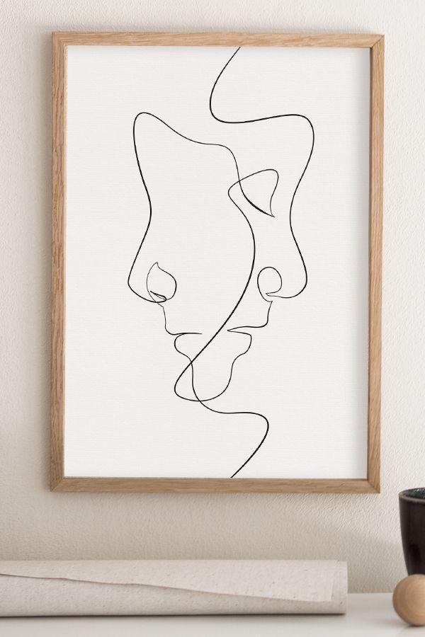 Minimal Face Line Art Print, Minimalist Printable Wall Art, Fine Line Abstract Artwork, Simple Drawing Decor, Scandinavian Bedroom Poster – Infinite Noon