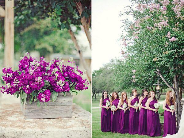 Military Wedding Romance: A Purple Outdoor Wedding