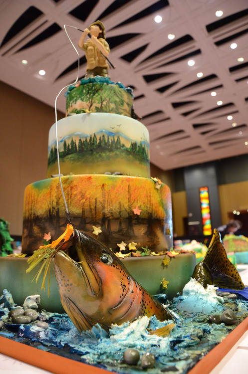 coolest cake ever! a fishing cake! The perfect cake for my brother-in-law