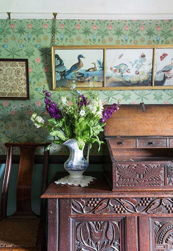 Beatrix potter's home william morris wallpaper, English cottage interior, carved antique chest and box