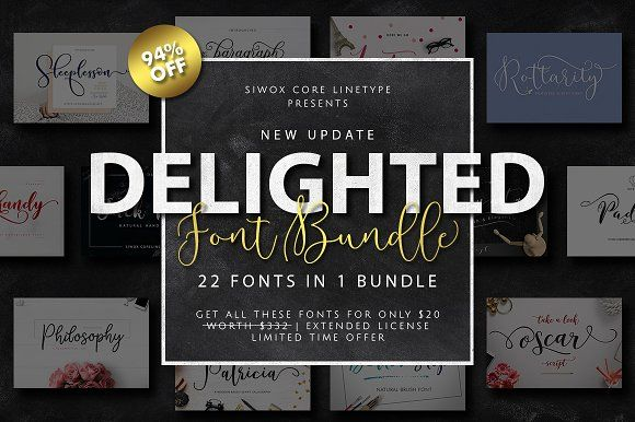 94% OFF DELIGHTED FONTS BUNDLE by Siwox Core LineType on @creativemarket