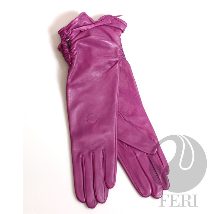 "FERI Rosie - Gloves For fitting your FERI Gloves - measure around the palm of your hand in inches which is equivalent to your glove size. Then choose the size accordingly.  - Ladies lambskin leather pink gloves - Nylon lining - Dimension: 14"" x 4.5""  Invest with confidence in FERI Designer Lines."