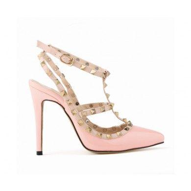 CHANEL ROSA COM TACHINHAS - Chanel de couro ecológico com tachinhas e fivela lateral. Salto de 11cm ou 9cm. Sapatos Importados. Tamanhos 33 ao 40 - Só R$ 269,00!!!