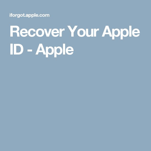 Recover Your Apple ID - Apple