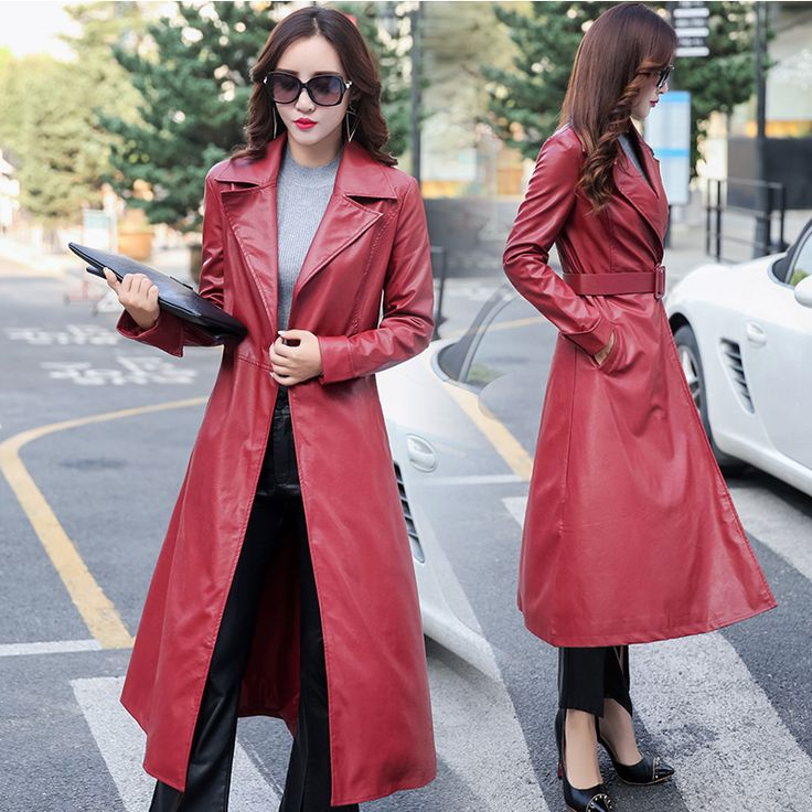 Winter Coat Women Warm Cotton-padded Pu Leather coat Plus Size Single Breasted Long PU Leather Trench Coats Windbreakers /DI-413