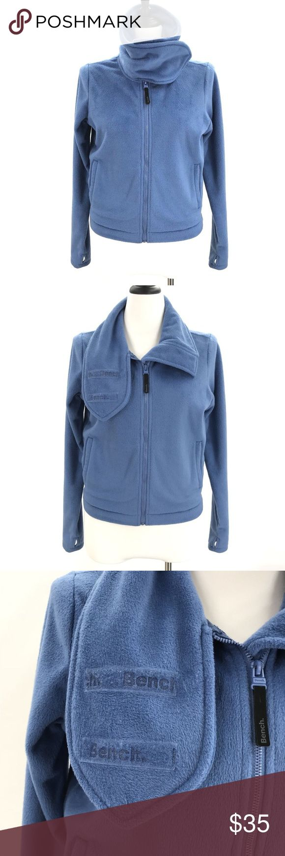 BENCH Funnel Neck Fleece Jacket Zip Up Sweatshirt BENCH Womens Size Medium Blue Funnel Neck Fleece Jacket Zip up Soft Sweatshirt  CONDITION: Very good preowned condition with normal signs of light use. No major flaws or imperfections. No stains, holes or heavy wear. May show light signs of wash and wear. All wear is typical of a gently worn preowned item. Please see all photos as a visual description of the item. Bench Jackets & Coats