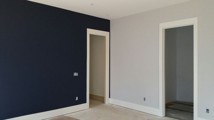 Sw Naval Flat Cashmere Paint Accent Wall With Sw 50 Light French Gray For Seahawks Boys Room Bm Winter Whi Navy Accent Walls Accent Wall Paint Boy Room Paint
