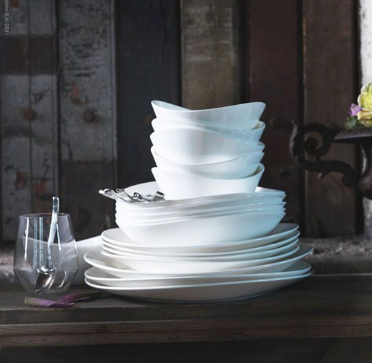 IKEA's Fancy New China: SKYN Fine China Dishes via the kitchn. Thanks to @Elizabeth Silbermann! #China #Dishes #IKEA