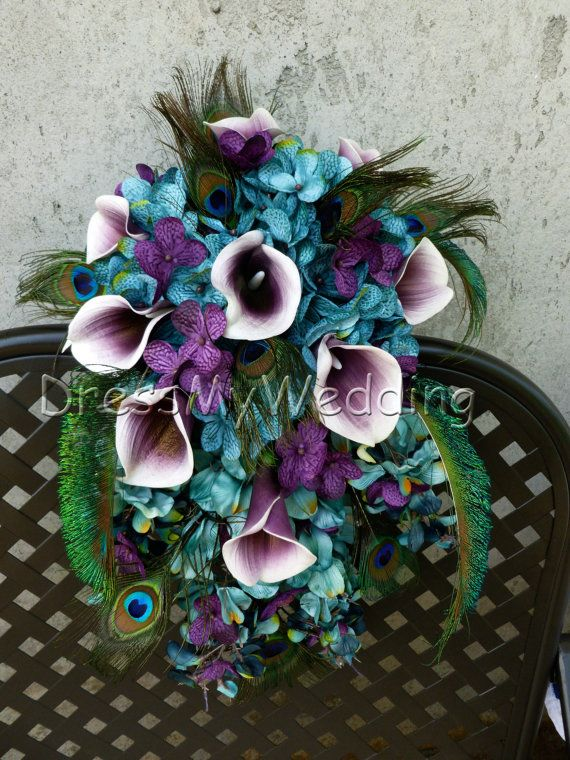 Teal cascading bouquet with picasso calla lilies, teal, plum purple, hydrangea bouquet, teardrop bouquet