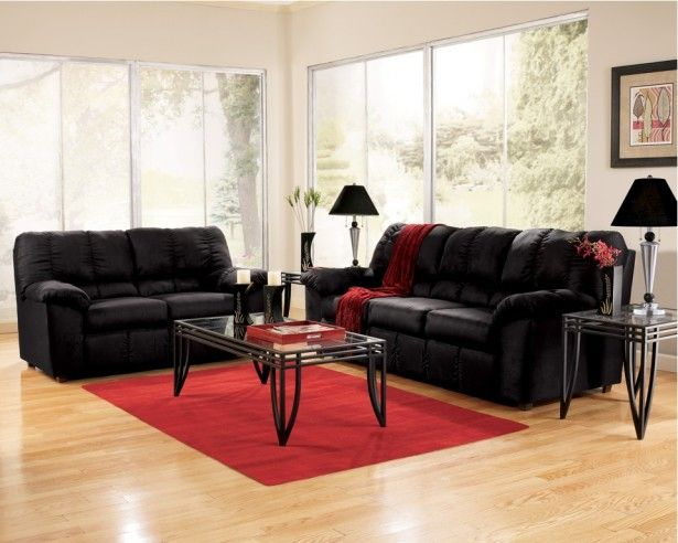 Living Room Cheap Furniture Black Sofa Sets Glass Table Wooden Tile Red Carpet Lamp Chandelier Flower Vase Ceramics Painting Decor Wall Interior Large Window How to Buy
