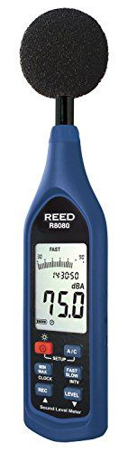 REED Instruments R8080 Sound Level Meter, Datalogger with Bargraph, 30 to 130 dB:   This data logging sound level meter has the ability to record  samples on internal memory and keep track of registered readings with a time and date stamp. The R8080 features user selectable sampling rates and the option to track live measurements via the included PC interface software. Features; High accuracy of ±1.4 dB meets Type 2 standards, Triple range measurement (60dB dynamic range), A & C freque...